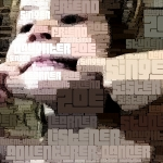 iPad camera self-portrait stylised in WordFoto