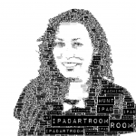 Black and white 'label' effect over colour photograph in WordFoto