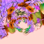 Mixala flower composition, recoloured in ColorSplash, manipulated in Tiny Planet