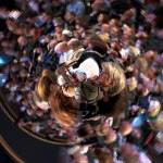 Image of crowd manipulated in Tiny Planet