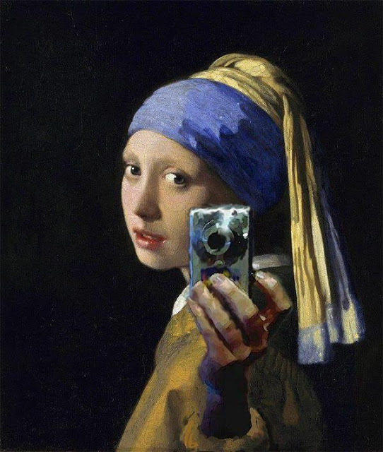 Girl with a Pearl Earring and a Silver Camera. Digital mashup after Johannes Vermeer, attributed to Mitchell Grafton. c.2012.