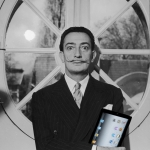 Mash-Up of Salvador Dali holding an iPad created using the Superimpose app.