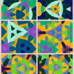 Created using a 'kaleidoscope' app to create new shapes from the original oil pastel drawing