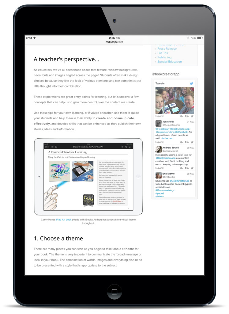 book creator iPad art room
