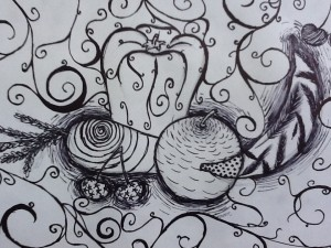 Contour line drawing of a still life, created in pen, stylised and patterns added