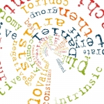 Word Cloud manipulated in Tiny Planet