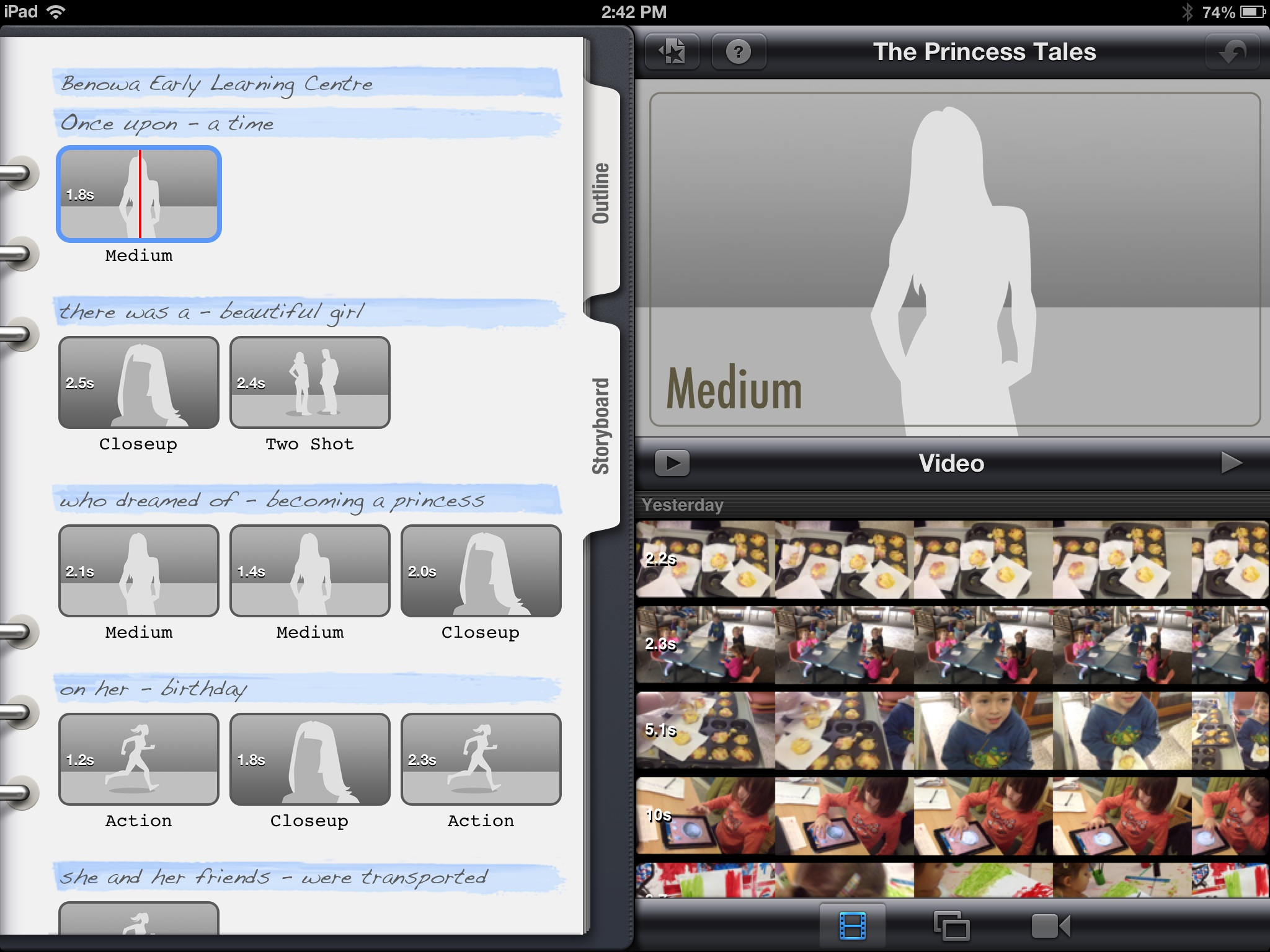 iPad Art Room » iMovie with story board bare trailer