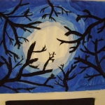 Black branches on tonal painting