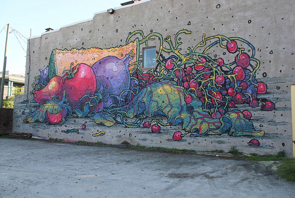 After a significant amount of time remaining rather quite, we are happy to see Aryz is back gracing walls with his unique work.  He is currently in Richmond, Va for the G40 Art Summit and completed this wall of fruits and veggies, which is appropriately located right next to the local farmers market.  This wall is different from the artists usual character based work and we love it.