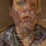 Selfie and skeleton image combined using Superimpose app - two transparent layers merged together.