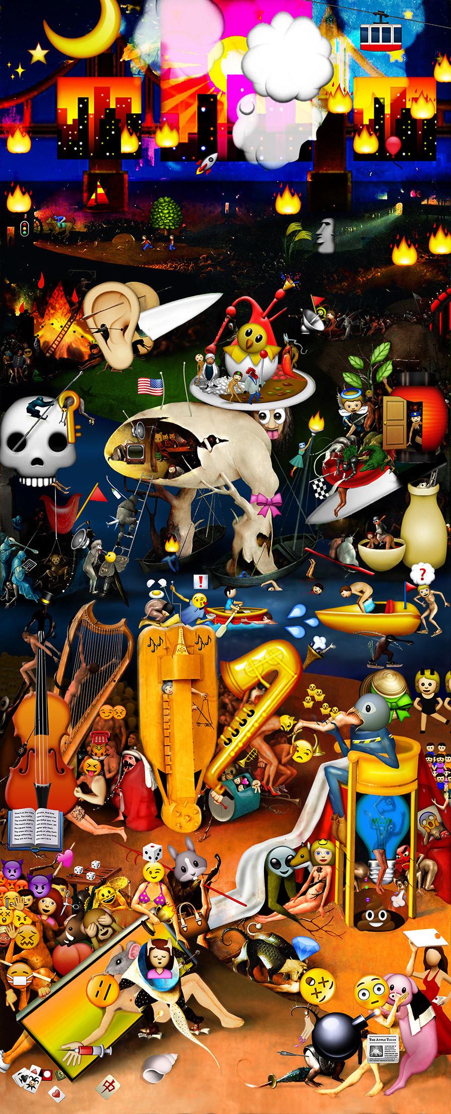 The Garden of Emoji Delights, Carla Gannis (source: http://www.huffingtonpost.com/2013/12/13/emoji-bosch_n_4435039.html?ncid=edlinkusaolp00000003)