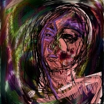 6 digital sketches combined using the transparent layering tools in Superimpose app.