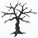 Images of hands, cut and pasted onto tree drawing, using the Superimpose app.
