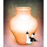 Created using screen shot of vase from Pottery HD, digitally manipulated in a verity of apps.  Creature produced in Daily Monster app added in Superimpose app.