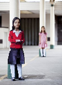 Maya: a pixelated sculture of a schoolgirl by Luke Jerram